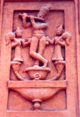 Krishna Playing Flute On Outer Wall Of Garbhagriha (South)